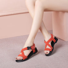 Load image into Gallery viewer, Ankle Wrap Genuine Leather Wedge Sandals 6511