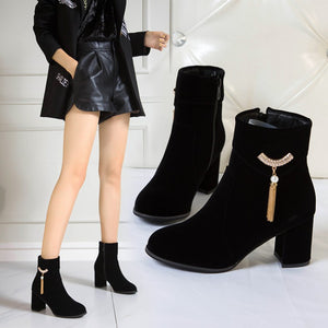 Rhinestone Women Ankle Boots Zipper Wedding Shoes Woman