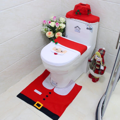 Gift for New Year Happy Christmas Santa Toilet Seat Cover Pad Rug Water Tank Cover Paper Towel Cover Bathroom Decorations