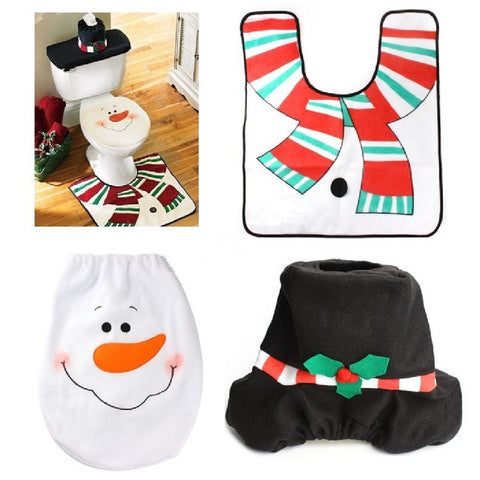 1 Sets 4PCS Xmas Toilet Seat Cover Mat Water Tank Cover Paper Towel Cover Rug Washroom Snowman Decorative Christmas Decorations