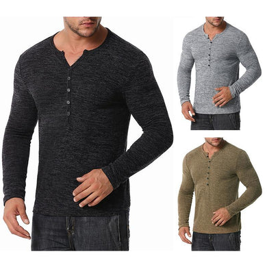 Men's Long Sleeves Waffle Weave Henry Stand-Up Collar T-shirt