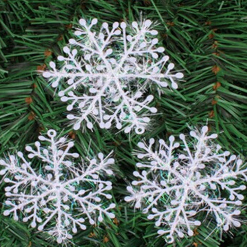 12PCS Christmas Home Decoration White Snowflake Ornaments 8.5CM