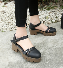Load image into Gallery viewer, Women Sandals Belt Buckle Chunky Heel Pumps Platform High-heeled Shoes
