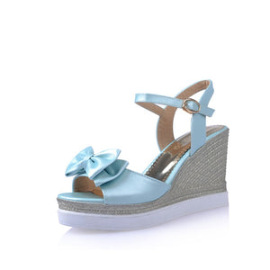 Summer Bow Sandals Woven Wedges Platform High-heeled Shoes Woman