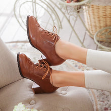 Load image into Gallery viewer, Lace Up Oxfords High Heels Women Shoes Chunky Heel Pumps  9521