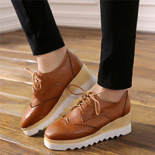 Load image into Gallery viewer, Lace Up Women Wedges Square Toe Oxfords Platform Shoes