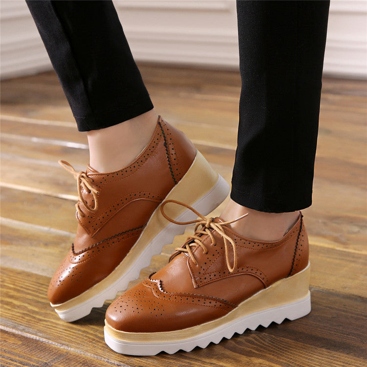 Lace Up Women Wedges Square Toe Oxfords Platform Shoes