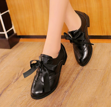 Load image into Gallery viewer, Bow Tie Lace Up Women Low Heeled Shoes
