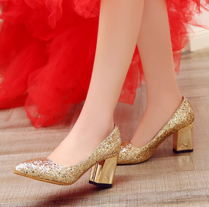 Pointed Toe Women Chunky Heel Pumps High Heels Wedding Shoes Party