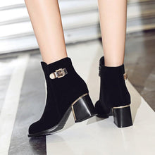 Load image into Gallery viewer, Black Ankle Boots with Zipper Buckle Low Heel Women Shoes 76115250