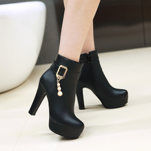 Load image into Gallery viewer, Buckle Platform Ankle Boots High Heels Thick Heeled Shoes Woman 3287 3287