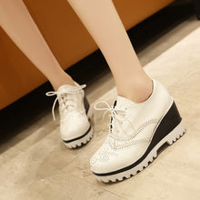 Load image into Gallery viewer, Round Toe Cutout Women Wedges Platform Shoes Plus Size