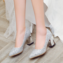 Load image into Gallery viewer, Pointed Toe Women Chunky Heel Pumps High Heels Wedding Shoes Party