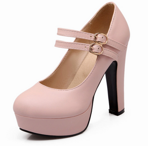 Women Chunky Heel Pumps Double Buckles Ankle Straps High Heels Platform Shoes Woman 3400