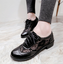 Load image into Gallery viewer, Cutout Lace Up Women Mesh Low Heeled Shoes  8246