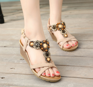 Platform Sandals Women T Straps High Heels Wedges Shoes Woman 3598