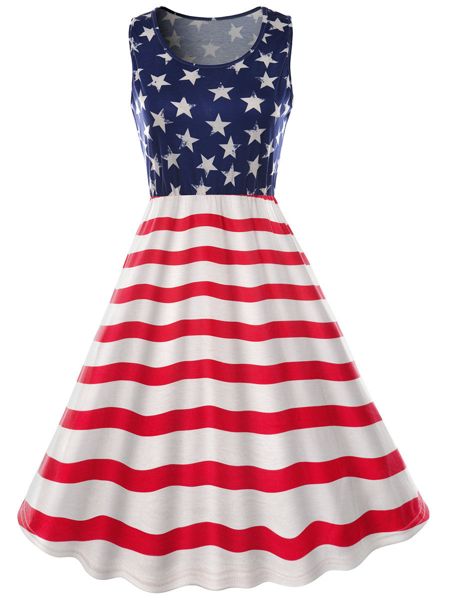 American Flag Print Dress for Women