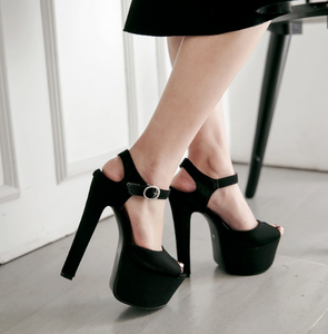 Ankle Strap Buckle Platform Sandals Women Chunky Heel Pumps High Heels Shoes Woman