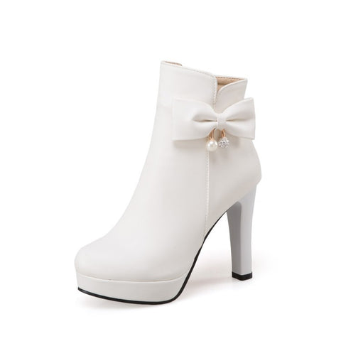 Pearl Bow High Heels Boots for Women 2425