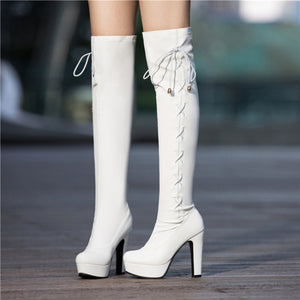 Strappy High Heels Platform Over the Knee Boots 6622