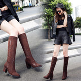 Crack Printed Velvet Chunky Heel Knee High Boots 5539