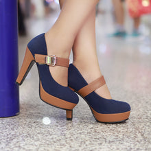 Load image into Gallery viewer, Leisure High Heel Shallow Mouth One-word Button Round Head Platform Pumps Large Size