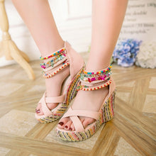 Load image into Gallery viewer, Women's Bohemian Style Beaded Wedges Sandals