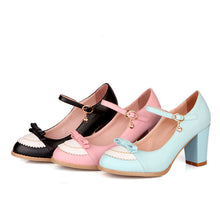 Load image into Gallery viewer, Bow Knot High Heels Chunky Heel Pumps