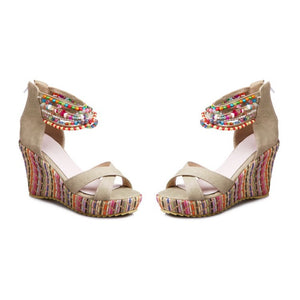 Women's Bohemian Style Beaded Wedges Sandals