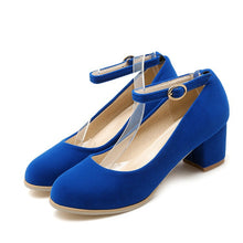 Load image into Gallery viewer, Ankle Straps Suede Women Pumps Thick Heeled Shoes