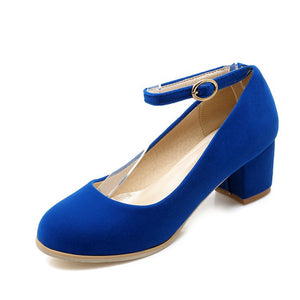 Ankle Straps Suede Women Pumps Thick Heeled Shoes