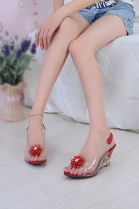 Crystal Flower Fish Mouth Rhinestone Sandals Women's Shoes
