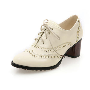Lace Up Oxford Women Chunky Heels Shoes
