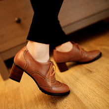 Load image into Gallery viewer, Lace Up Oxford Women Chunky Heels Shoes