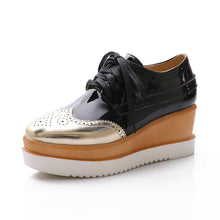 Load image into Gallery viewer, Lace Up Wedge Heeled Round Head Leisure Oxford Platform Shoes