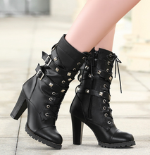 Load image into Gallery viewer, Round Toe Mid Calf Boots Zipper Lace Up Motorcycle Boots Women Shoes