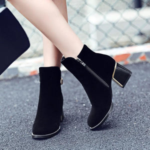 Black Ankle Boots with Zipper Buckle Low Heel Women Shoes 76115250