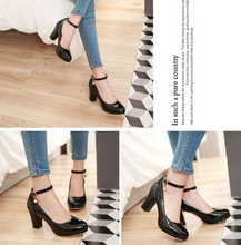 Load image into Gallery viewer, Patent Leather Ankle Strap Sequin Women Platform Pumps High Heels Shoes Woman