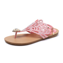 Load image into Gallery viewer, Summer Flats Sandals Pearl and Rhinestone Shoes Woman