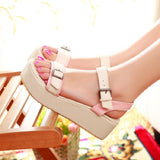 Women Sandals Sequined Wedges Platform High-heeled Shoes