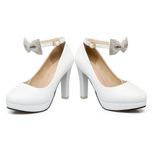 Load image into Gallery viewer, Women High Heels Shoes Ankle Straps Bow Platform Pumps 9897