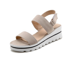 Buckle Platform Sandals Women Candy Colors Wedges Shoes Woman