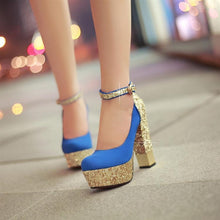 Load image into Gallery viewer, Glitter Women Chunky Heel Pumps Platform Ankle Straps High Heels Shoes Woman