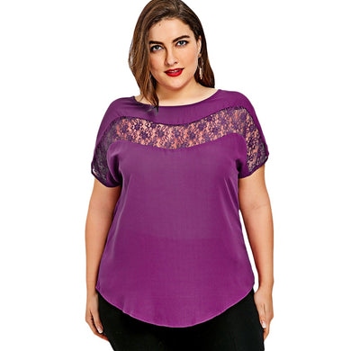 Plus Size Lace Insert Curved Short Sleeved Women Blouse 4390