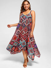 Load image into Gallery viewer, Big Size Spaghetti Strap Printed Asymmetrical Dress 6923