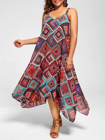 Big Size Spaghetti Strap Printed Asymmetrical Dress 6923