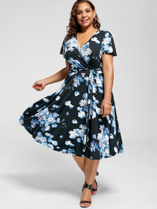 V Neck Floral Printed Short Sleeves Dress with Belt 8637