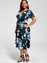 Load image into Gallery viewer, V Neck Floral Printed Short Sleeves Dress with Belt 8637