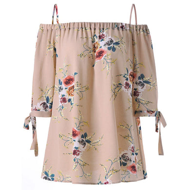 Three Quarter Sleeve Floral Printed Cold Shoulder Women Blouse 7079