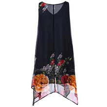Load image into Gallery viewer, Plus Size V Neck Floral Printed Knee Length Sleeveless Dress 3648